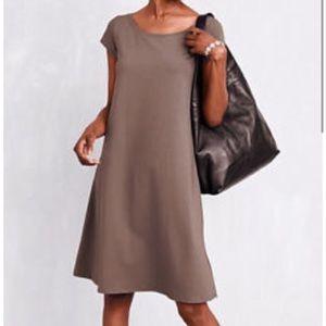Eileen Fisher Organic Cotton Ballet Neck Dress XS